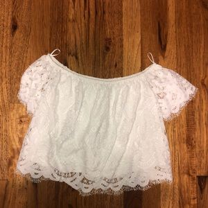 Express lace cropped off the shoulder top